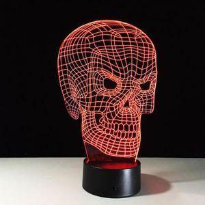 OBJETS LUMINEUX DÉCO  3D Nuit Lumière Lampe Acrylique Crâne Tête de Mort