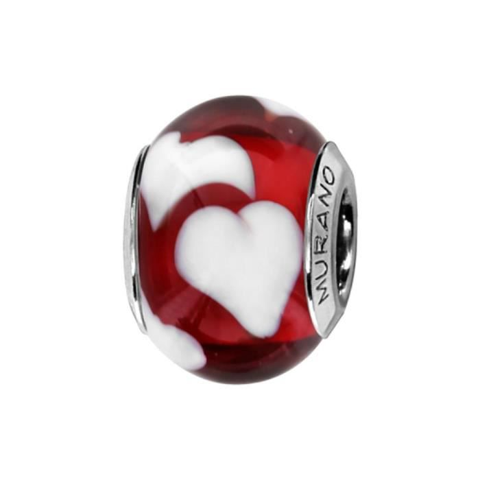 Charms Argent 925 Perle Murano Rouge Coeur Blanc