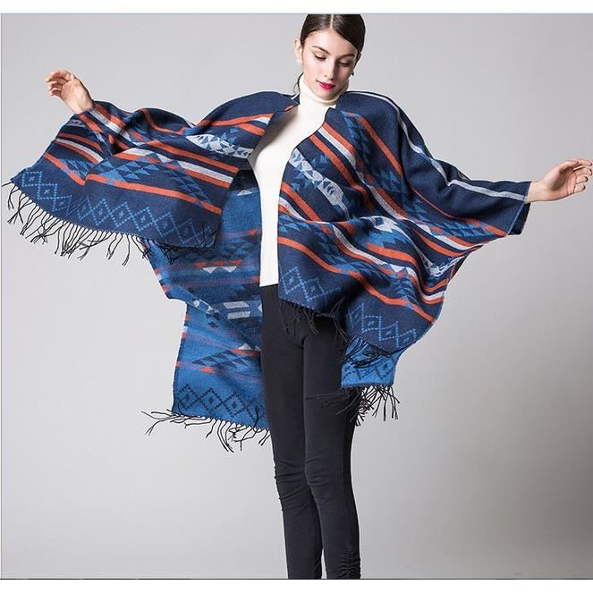 a52ccfc648d Femme Poncho bleu Manteau veste Cape manteau écharpe Poncho Poncho Chale Cape  Femme Poncho Cardigan