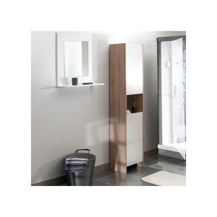 colonne salle de bain 2 portes/1 niche - chene/blanc - achat ... - Niche De Salle De Bain