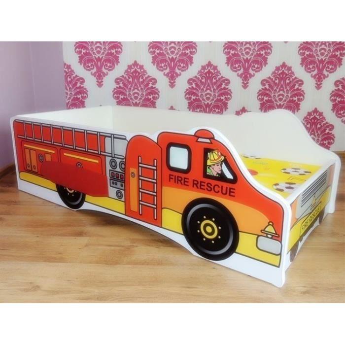lit camion pompier sommier matelas 140x70 cm achat vente lit complet lit camion pompier. Black Bedroom Furniture Sets. Home Design Ideas