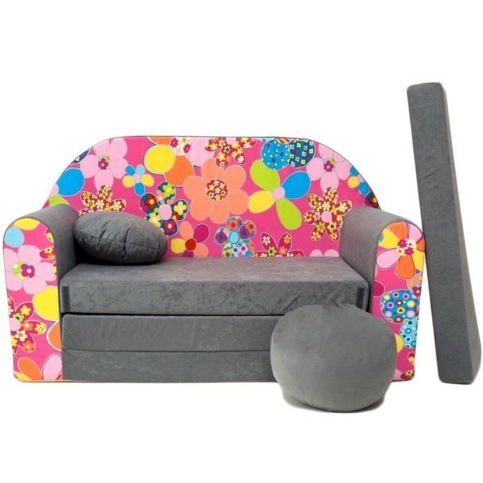 canap lit enfant convertible gris et fleurs rose achat vente fauteuil canap b b. Black Bedroom Furniture Sets. Home Design Ideas