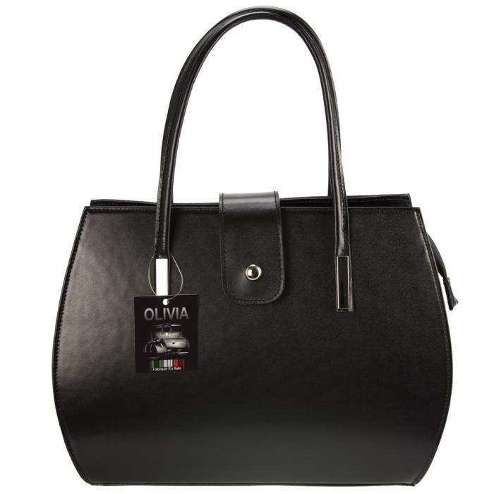 Olivia - Sac à main femme cuir MILANO 35x27x14 cm Sac mode - (Noir - Cuir)