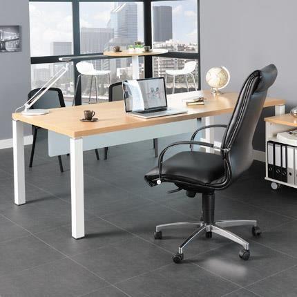 Bureau professionnel 200x100 cm coloris chne clair et blanc