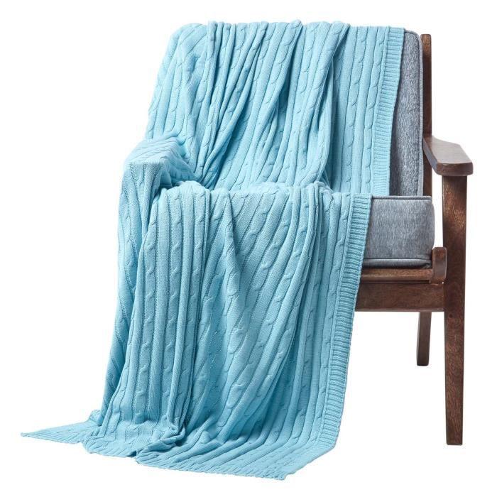Jeté de canapé Bleu pastel 150 x 200 cm - Achat / Vente jetée de lit ...