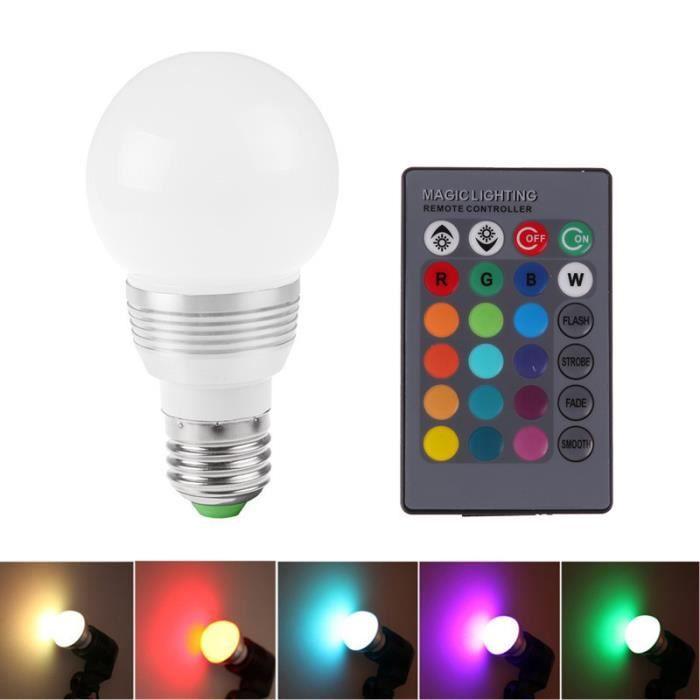 Clé Télécommande E27 3w Led Couleur Lumière Avec Rgb Changement Lampe Multicolore 16 24 Ampoule VSUMpzGq
