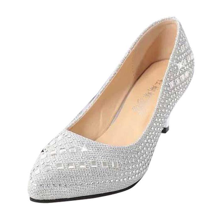 Talon Chaussures dore Ete noir Femmes Esc Bouts A Pointus Argente gwWUWqxa4