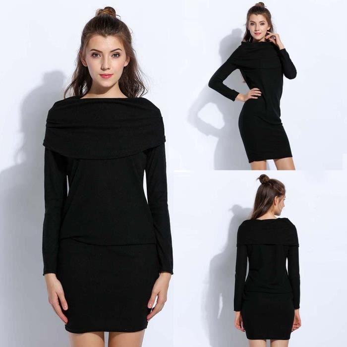 pullover sexy mode de manches automne mini Casual robe femmes Nouvelle longues 7F6xCqC
