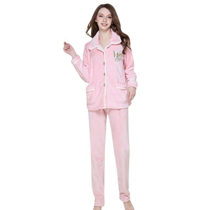 Les Coton Set Suitthicken Sleepshirt Chemise Casual De Nuit Femmes rose Nuits r6X5qrpx