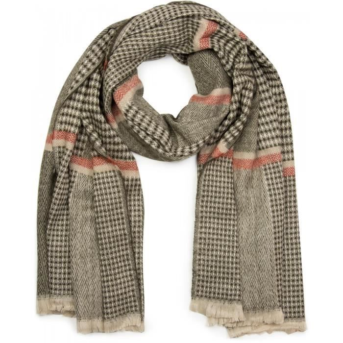 écharpe XXL très large, avec motif chevrons en damier, bandes décoratives  et frange, écharpe en tricot, unisexe 01017027 b5b19df432e