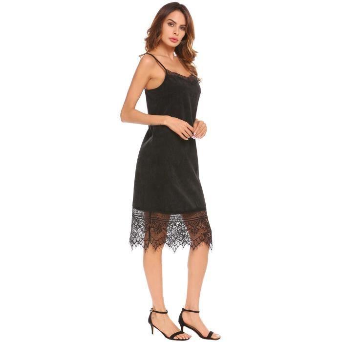 Femmes robe en velours côtelé strap dentelle V-cou patchwork décontracté