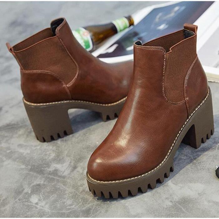 Bottes courtes automne bottes bare chaussures thick avec