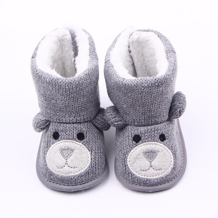 Mignon Ours Tricot Chaussures de bébé Automne et hiver Bébé Fond mou Garde au chaud Bottes-Gris