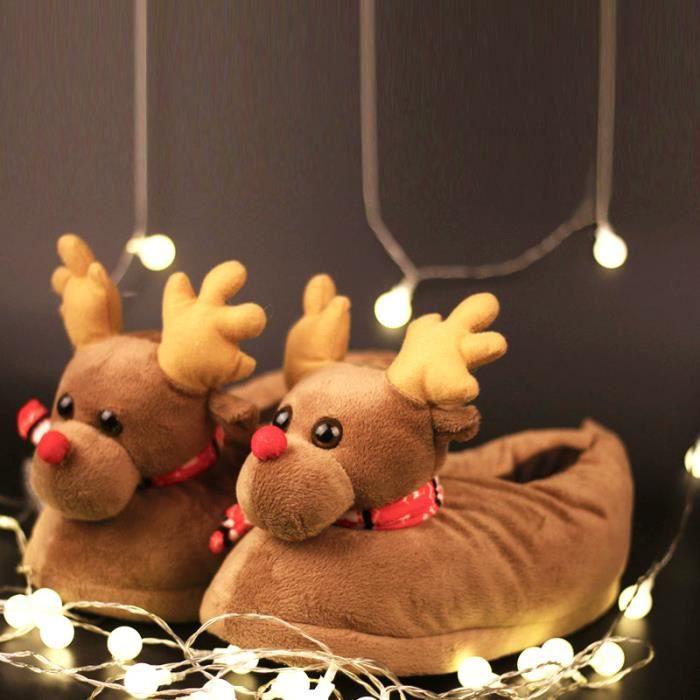Pantoufles Femmes Hommes en peluche Hiver Cerf de Noël Adulte Chaussons doux et chauds Populaire BGD-XZ140Marron39 kVdDU