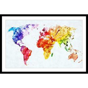 CADRE PHOTO WORLD Affiche encadrée 60x40cm - Carte du monde co