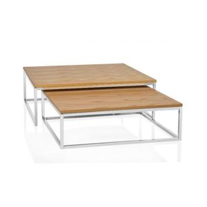 Table chene metal achat vente table chene metal pas - Tables basses carrees ...