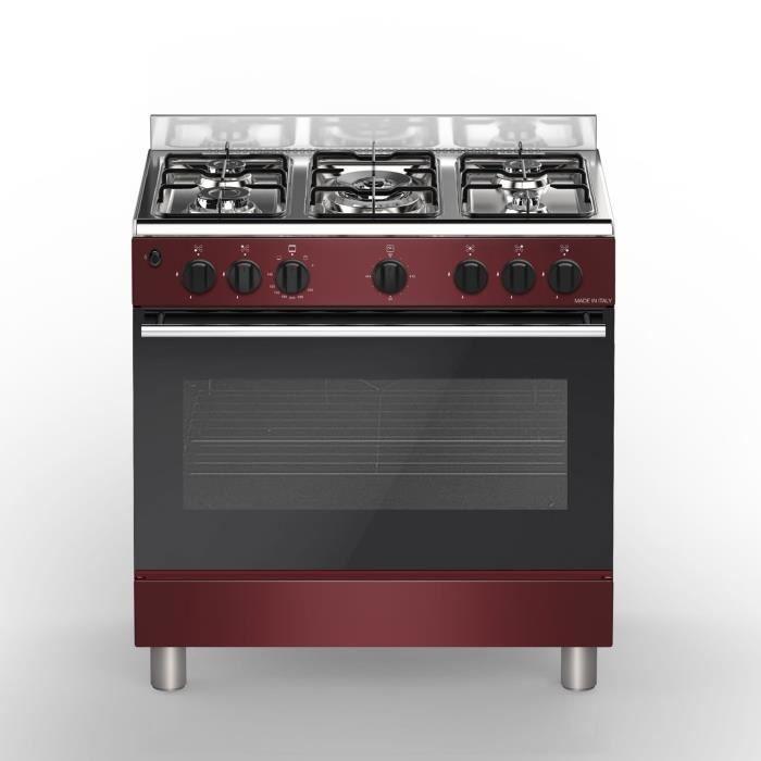 BOMPANI BŒ85BX Piano de cuisson gaz - 5 foyers - Four électrique - Catalyse - Bordeaux
