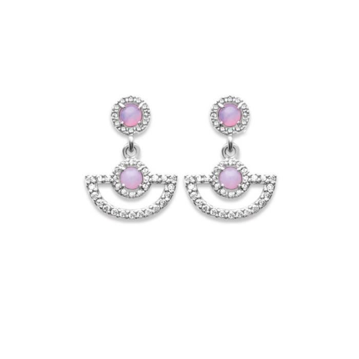 Boucles doreilles perles rose serti zirconium,argent massif rhodié 925°°°