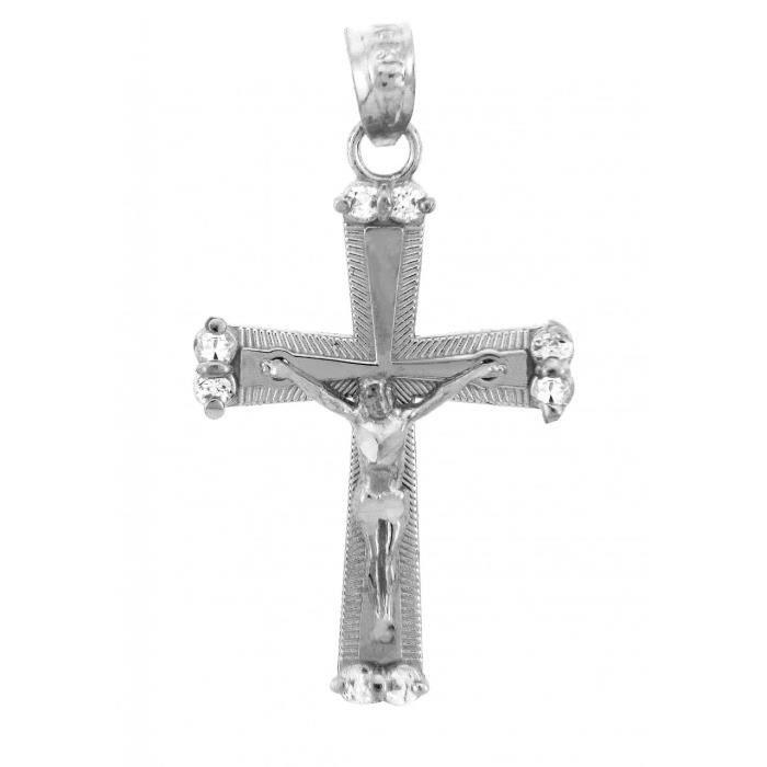 Collier Pendentif10 ct Or Blanc 471/1000 CrucifixLe Collier PendentifCrucifix Sacrée (vient avec une Chaîne de 45 cm)