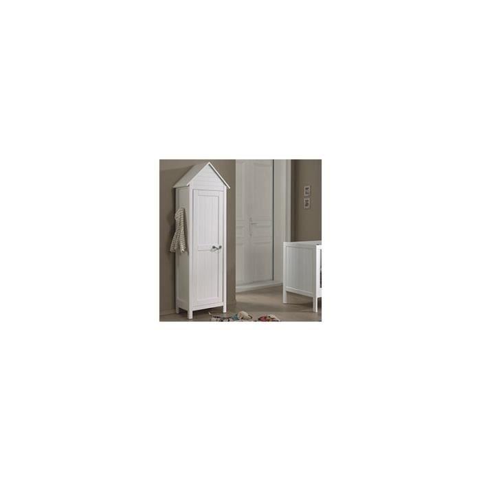 armoire cabine de plage 1 porte blanc laqu marin blanc. Black Bedroom Furniture Sets. Home Design Ideas