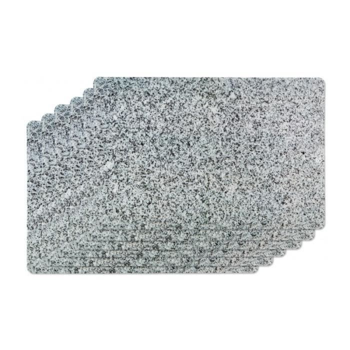 Set de Table Vinyle Motif Granite - Set de 6 0,000000 Gris