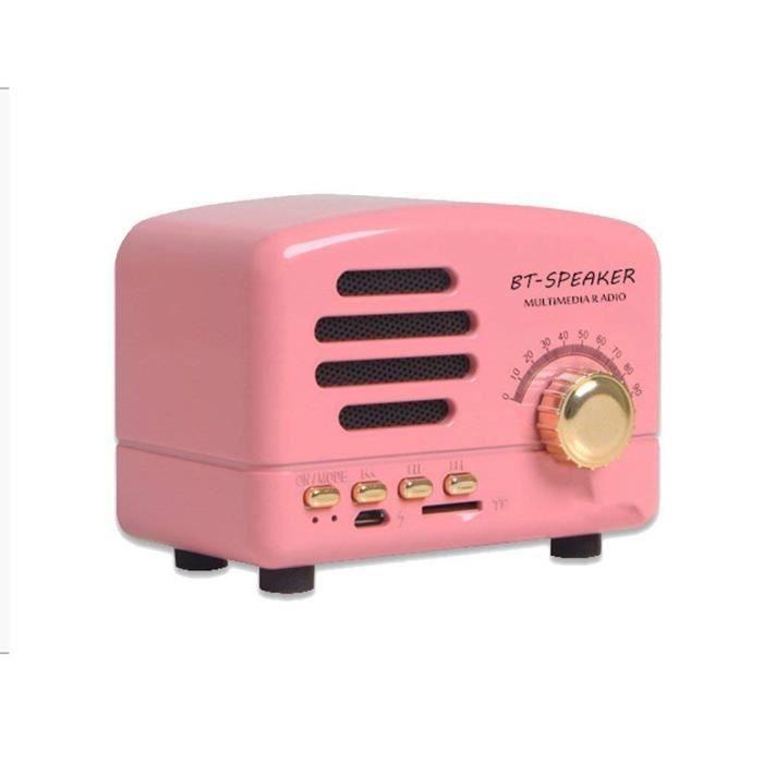 Jooksmart Portable Bluetooth Haut Parleur Bois Bureau Fm Radio Basse Stéréo Rétro Sans Fil Meilleur Mini Petite Enceinte