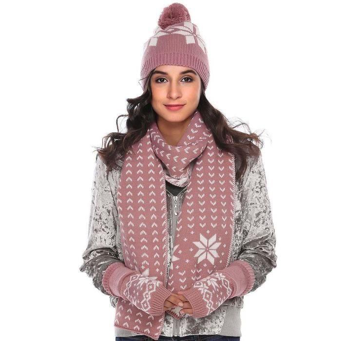 Femme ensemble de foulard chapeau paire de gants tricot impression violet  couleur 7288b01b798