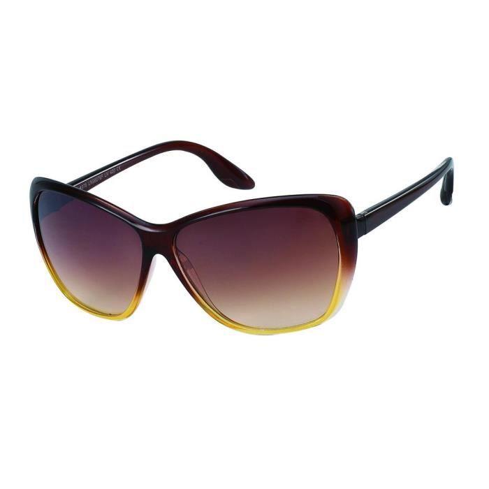 Lunettes papillon lumière lunettes de soleil vintage femme 9207 monture marron et jaune