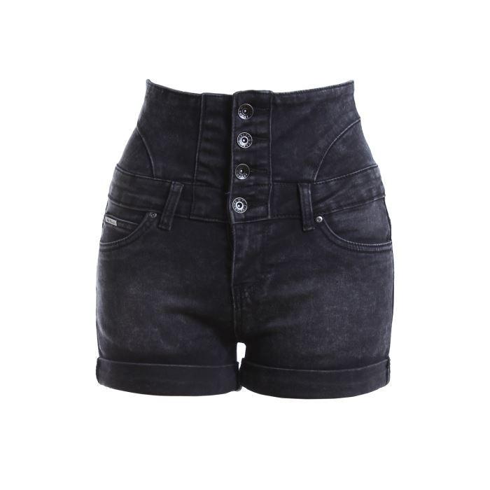 Short en jean taille haute... Noir délavé Noir - Achat   Vente short ... 3b7deb70ef9