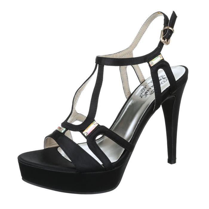 femme sandalette chaussure escarpin Chaussures de soirée Élégant Fête Club High-Heel stiletto Plateau escarpin noir vriuH