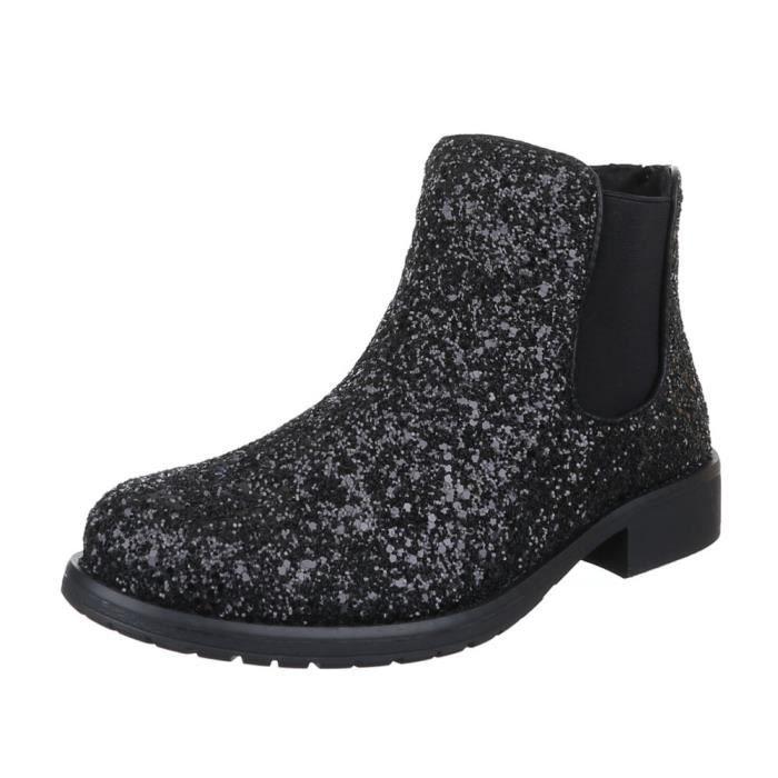 Femme chaussures bottillon perforé bottes noir 39 8zPseB1Re