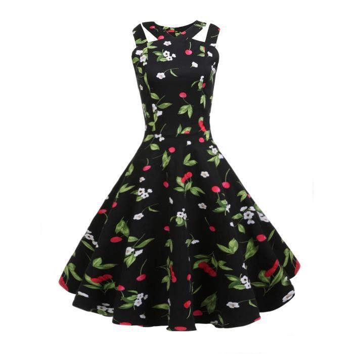 robe de femme Vintage Style Sans manches Découpe Impression Party Swing