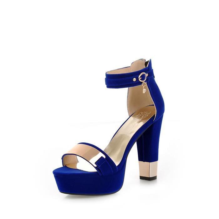 Sandales ouvert Toe métallique Ornement épais Chaussures à talon 5918870