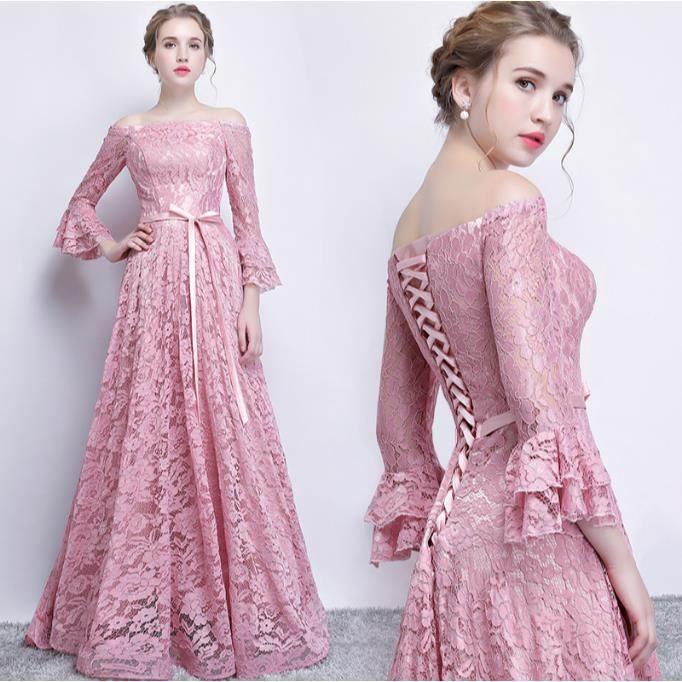 Robes De Soirée Rose De Luxe Longue Traîne Longue Robe De Soirée, Plus La  Taille ba835380dec5