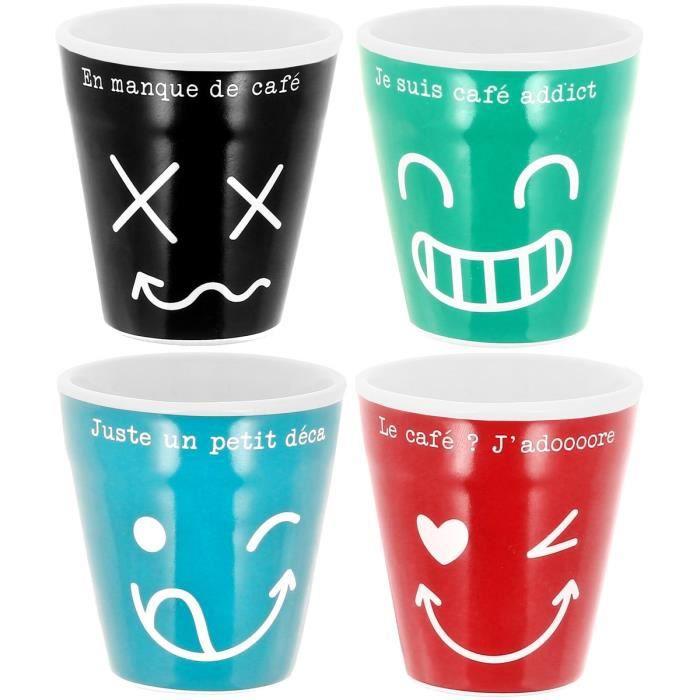 Set Lot 4 Tasses A Café Expresso Collection Humeur Personnage Fun ...