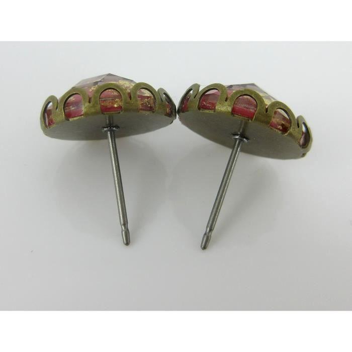 Craze Antiqued Bronze-Tone Facettes Résine Gold Leaf Rouge Boucles doreilles 12mm