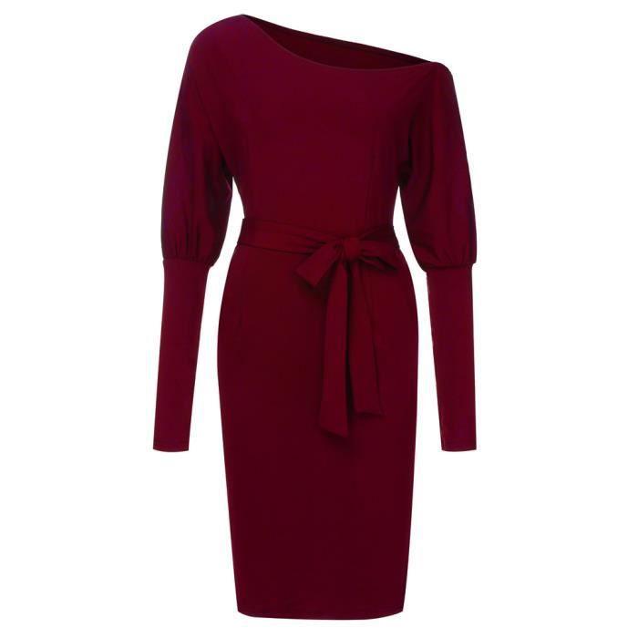 Mi Slashnech Rouge longues Robe Femmes Solides Vêtements Manches Longues qUTYXvw