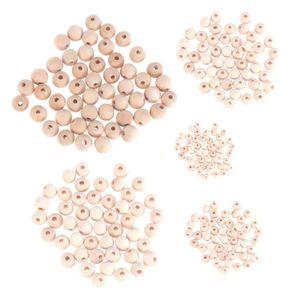 CHAPELET 250pcs Perles en bois rondes naturelles Perles d'e