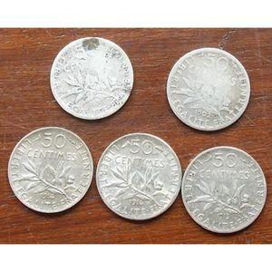 PIÈCE - MONNAIE PIECES DE 50 CENTIMES LA SEMEUSE DE  1899  1902  1