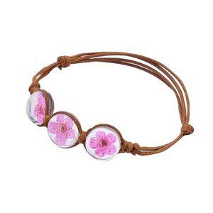 BRACELET - GOURMETTE Charm corde Bracelets Bangles Peach blosso Accesso