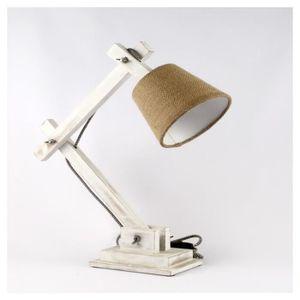 LAMPE A POSER Lampe en bois blanc patiné