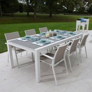 Table jardin alu verre - Achat / Vente pas cher
