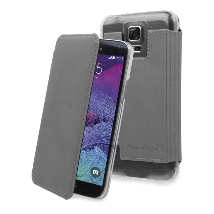 MUVIT Made in Paris Etui - Crystal - Gris métal - Pour Samsung Galaxy Note 4