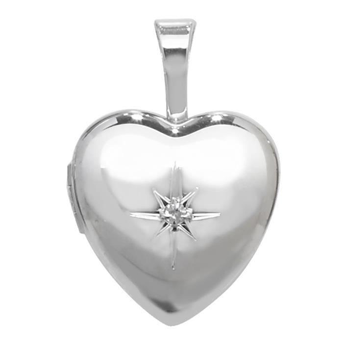 Médaillon Femme Coeur Argent fin 925 et Diamant Rond - 18mm*12mm 42323