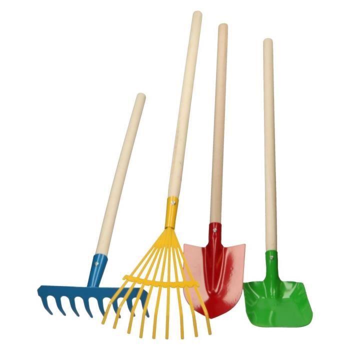 4 outils de jardinage pour enfant jeu jouet de jardinier en bois et metal eveil rateau pelle. Black Bedroom Furniture Sets. Home Design Ideas