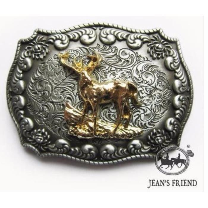 boucle ceinture western country cowboy cerfs communs mâle cornes or argent  rate cbd8165a5c5