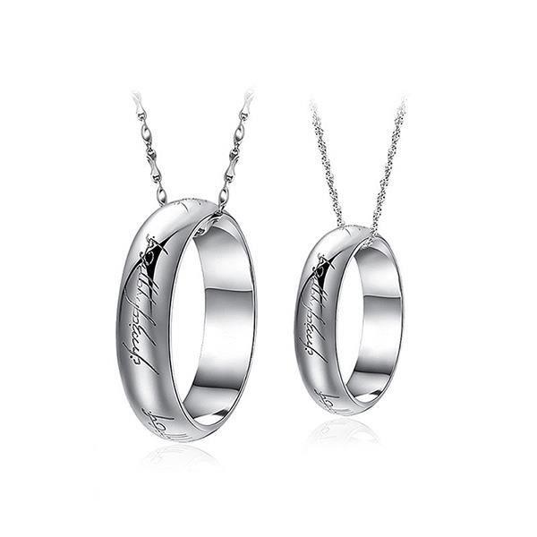 Glamorousky Pendentif de couple en argent sterling 925 avec collier (24426)