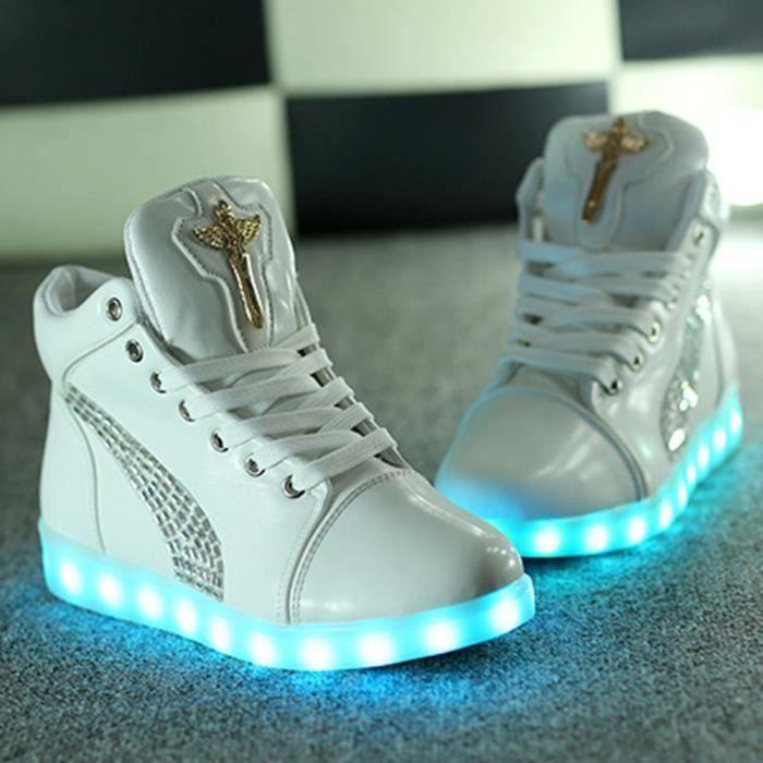 NouveauHomme Femme7 Multicolore USB Rechargeables LED Lumière Lumineux Clignotants Chaussuresde Sports Baskets pour PU BtcrIrXWR