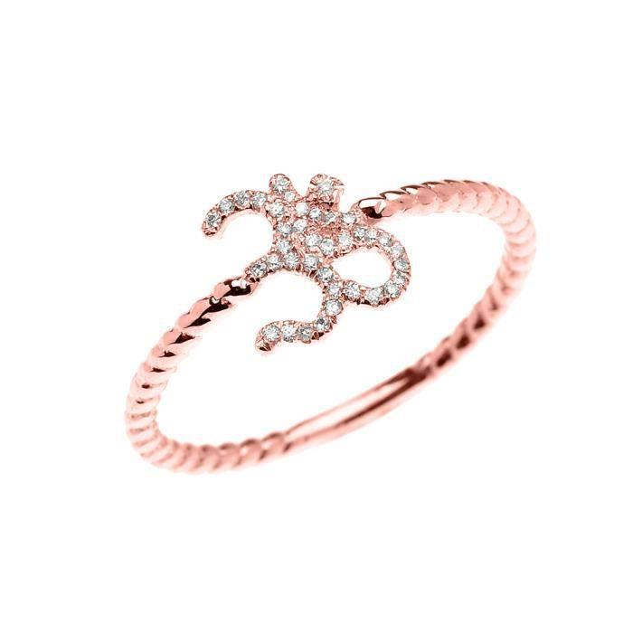 Bague Femme 10 Ct Or Rose Diamant Ohm (Om) Ganesh Conception De Corde