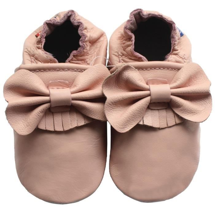 Chaussons Carozoo enfant cuir souple Noeuds roses